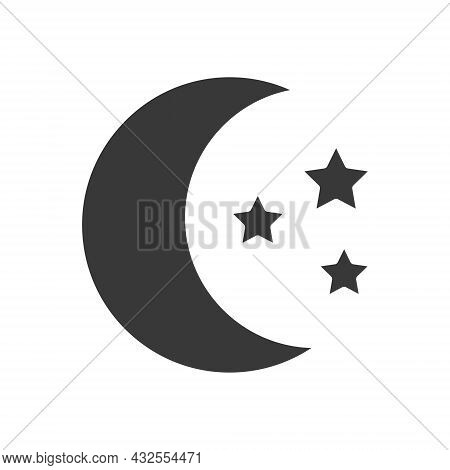 Moon With Stars Icon. Moonlight Black Silhouette Symbol. Vector Isolated On White