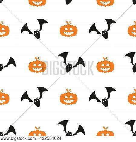 Halloween Seamless Pattern. Helloween Elements Collection. Vector Holiday Illustration Texture