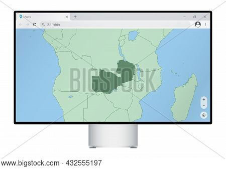 Computer Monitor With Map Of Zambia In Browser, Search For The Country Of Zambia On The Web Mapping