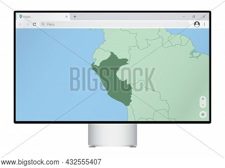 Computer Monitor With Map Of Peru In Browser, Search For The Country Of Peru On The Web Mapping Prog