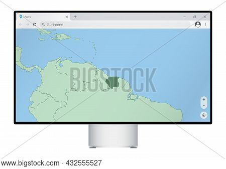Computer Monitor With Map Of Suriname In Browser, Search For The Country Of Suriname On The Web Mapp