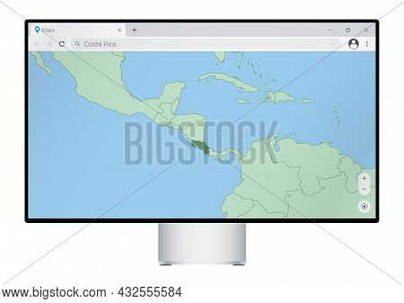 Computer Monitor With Map Of Costa Rica In Browser, Search For The Country Of Costa Rica On The Web