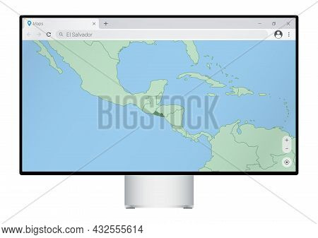 Computer Monitor With Map Of El Salvador In Browser, Search For The Country Of El Salvador On The We
