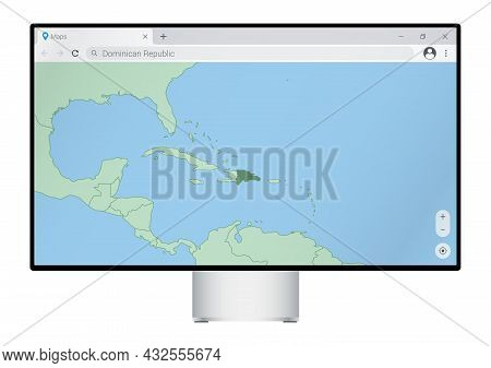 Computer Monitor With Map Of Dominican Republic In Browser, Search For The Country Of Dominican Repu