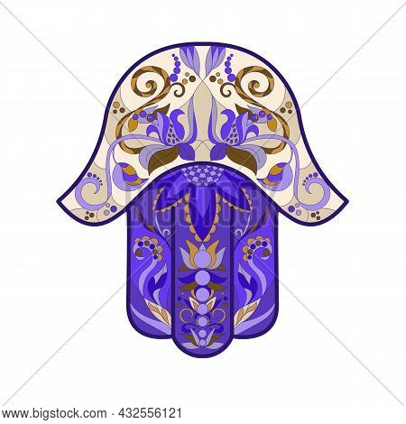 A Traditional Oriental Or Indian Amulet Is A Symbol Of Good Luck And Happiness Hamsa, The Hand Of Da
