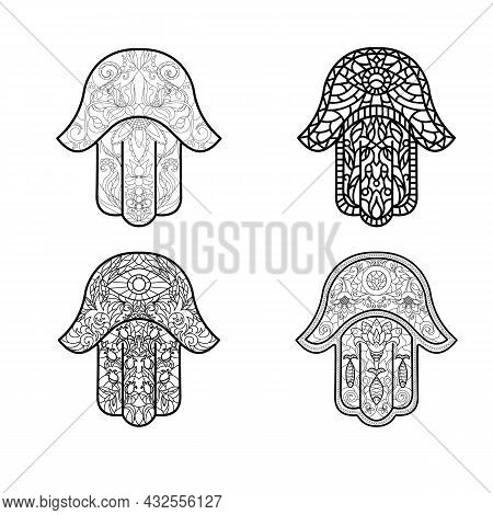 Set Of Traditional Oriental Good Luck And Happiness Talismans Hamsa Or Hand Of David With Various Or