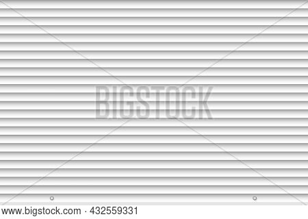 White Closed Roller Shutter Gate Mockup Template. Realistic Rolling Shutter Door Background. Metal R