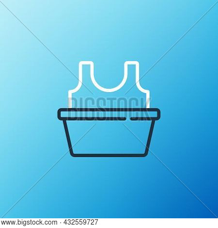 Line Plastic Basin With Shirt Icon Isolated On Blue Background. Bowl With Water. Washing Clothes, Cl