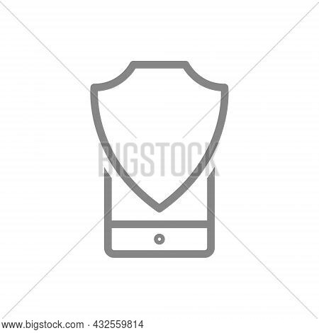 Protective Shield And Smartphone Line Icon. Antivirus, Secure Phone, File Protection