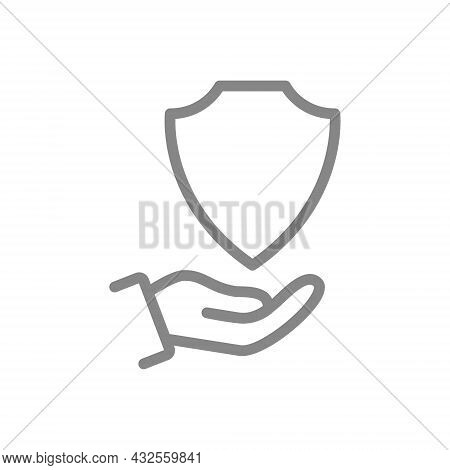 Protective Shield On The Hand Line Icon. Protection, Security Sign, Defender Support