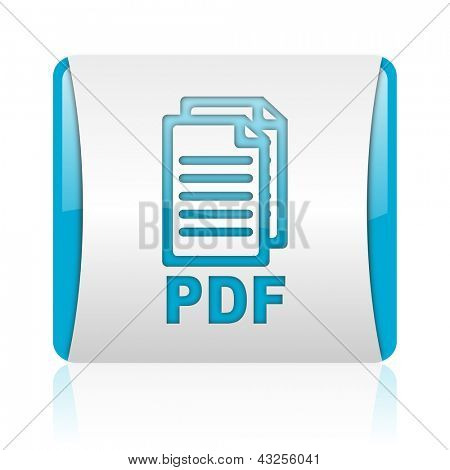 pdf blue and white square web glossy icon