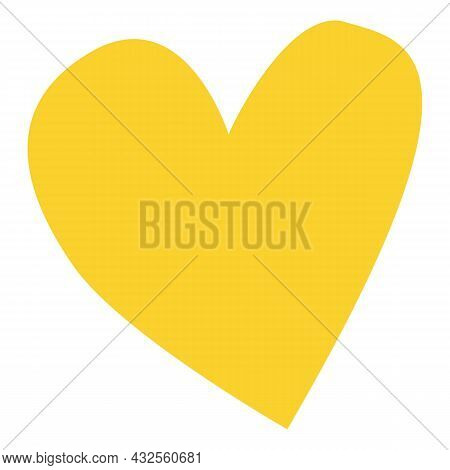 Hand Drawn Yellow Heart Shape Isolated On White. Graphic Design Decorative Element. Love And Romance