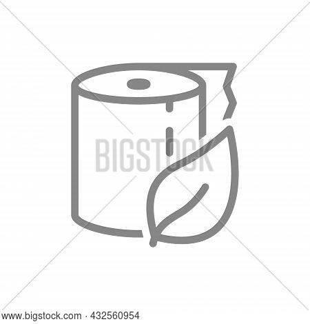 Toilet Paper With A Leaf Line Icon. Paper Roll, Eco Material, Personal Hygiene Items, Cleanliness