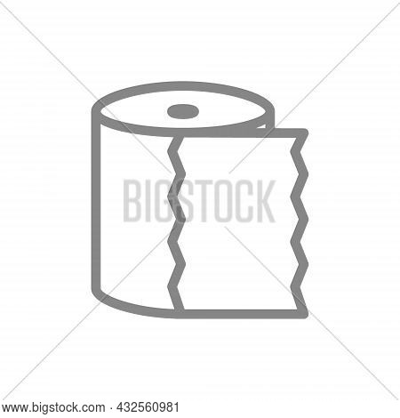 Toilet Paper, Towel Line Icon. Paper Roll, Tear-off Strip, Hygiene Products