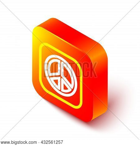 Isometric Line Peace Icon Isolated On White Background. Hippie Symbol Of Peace. Orange Square Button