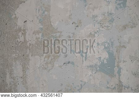 Gray Concrete Shabby. Abstract Background With Pale Blue Streaks.