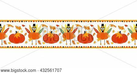 Thanksgiving Day Holiday Fancy Seamless Vector Flat Border Pattern. Cute Turkey Pumpkin Cartoon Desi