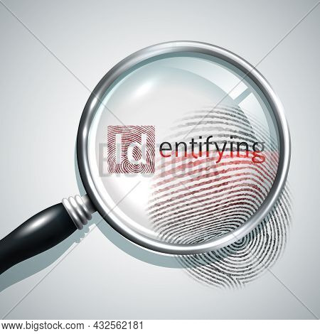 Fingerprint Search Concept With Realistic Magnifier Glass Person Identifying Concept Vector Illustra