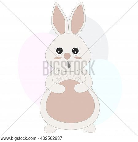 Painted Cute Rabbit Isolated On A White Background.pastel Blots. Rabbit With A Print. Childrens Prin