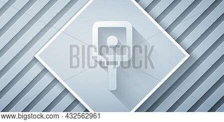 Paper Cut Frying Pan Icon Isolated On Grey Background. Fry Or Roast Food Symbol. Paper Art Style. Ve