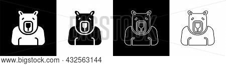 Set Polar Bear Head Icon Isolated On Black And White Background. Vector