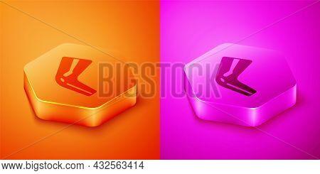 Isometric Bone Pain Icon Isolated On Orange And Pink Background. Orthopedic Medical. Disease Of The