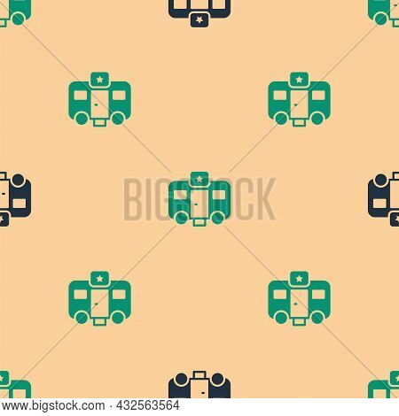 Green And Black Machine Trailer Dressing Room For Actors Icon Isolated Seamless Pattern On Beige Bac