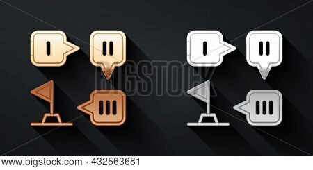 Gold And Silver Planning Strategy Concept Icon Isolated On Black Background. Formation And Tactic. L