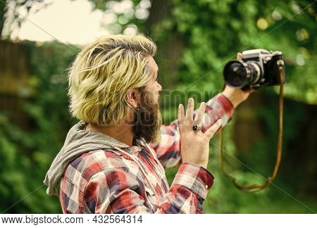 Photography In Modern Life. Use Camera. Creating Content For Blog. Bearded Man Hipster Taking Photo.