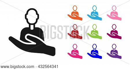 Black Caring For People Icon Isolated On White Background. Customer Service Sign. Patient Care Icon.