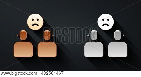 Gold And Silver Complicated Relationship Icon Isolated On Black Background. Bad Communication. Colle