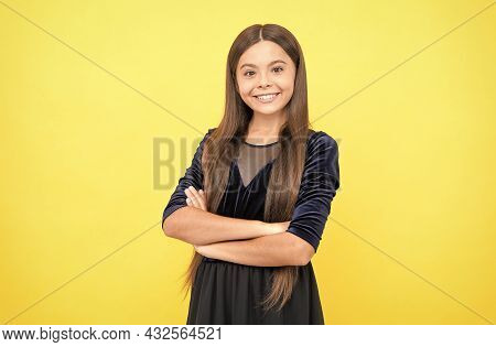 Happy Childhood. Cheerful Teen Girl With Long Hair. Express Positive Human Emotions. Smiling Cute Ch