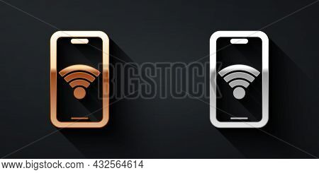 Gold And Silver Smartphone With Free Wi-fi Wireless Connection Icon Isolated On Black Background. Wi