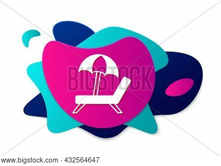 Color Sunbed Icon Isolated On White Background. Beach Umbrella And Sun Lounger. Abstract Banner With