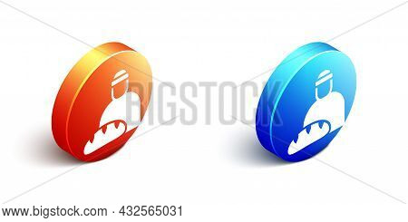Isometric Feeding The Homeless Icon Isolated On White Background. Help And Support. Giving Food To T