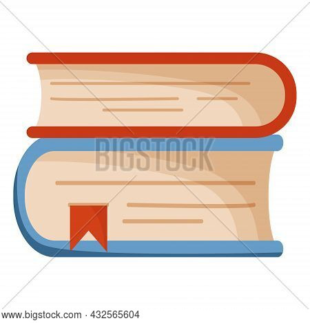 Vector Icon In The Form Of A Stack Of Two Books With A Red Bookmark. Vector Illustration Of Books Is