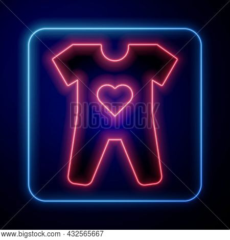Glowing Neon Baby Clothes Icon Isolated On Black Background. Baby Clothing For Baby Girl And Boy. Ba