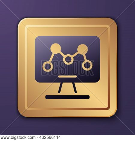 Purple Genetic Engineering Modification On Laptop Icon Isolated On Purple Background. Dna Analysis,