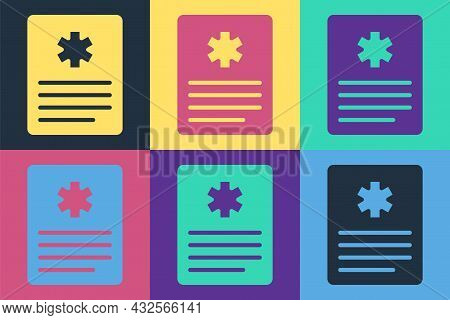 Pop Art Medical Clipboard With Clinical Record Icon Isolated On Color Background. Prescription, Medi