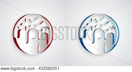 Paper Cut Donut With Sweet Glaze Icon Isolated On Grey Background. Paper Art Style. Vector