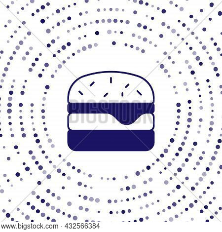 Blue Burger Icon Isolated On White Background. Hamburger Icon. Cheeseburger Sandwich Sign. Fast Food