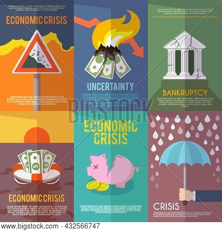 Economic Crisis Mini Poster Set Financial Bankruptcy Flat Isolated Vector Illustration