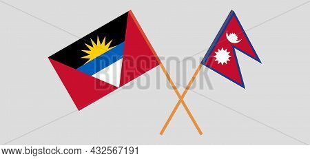 Crossed Flags Of Antigua And Barbuda And Nepal