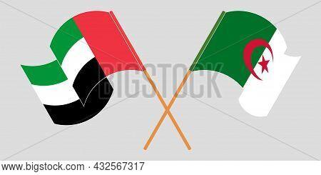 Crossed Flags Of Algeria And The United Arab Emirates