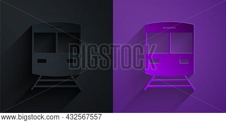 Paper Cut Train And Railway Icon Isolated On Black On Purple Background. Public Transportation Symbo