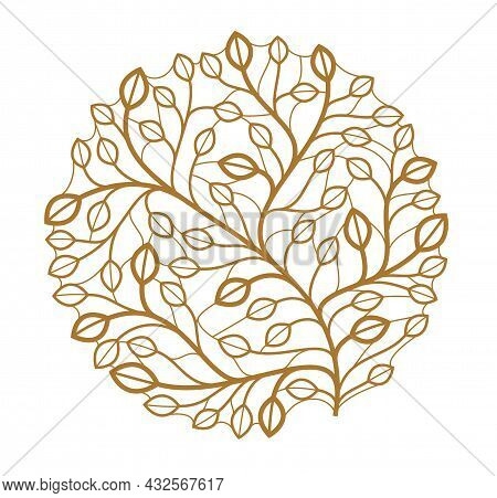 Luxury Classic Style Elegant Vector Floral Emblem Isolated On White Background, Round Shape Boutique