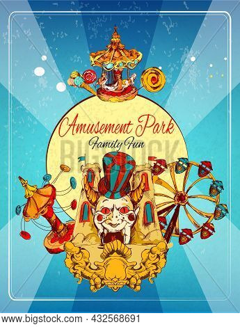 Amusement Park Family Fun Hand Drawn Poster With Thrill Attraction And Rollercoasters Vector Illustr