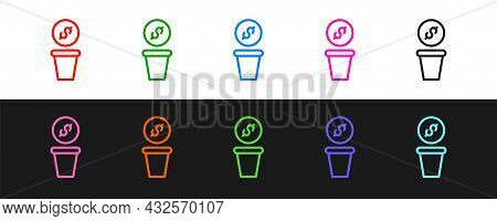 Set Line Donation Money Icon Isolated On Black And White Background. Hand Give Money As Donation Sym