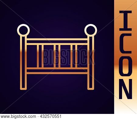 Gold Line Baby Crib Cradle Bed Icon Isolated On Black Background. Vector