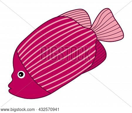 Isolated Cute Tropical Pink Fish With Stripes. Vector Cartoon Fish. Fish Vector Illustration